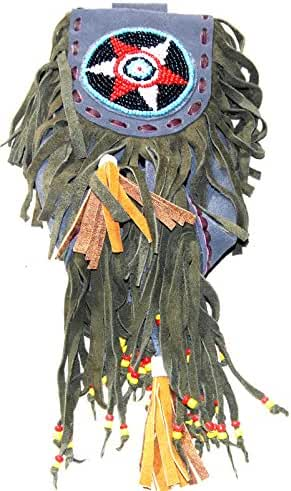 Fair Trade Replica Native American Medicine Drawstring Beaded Belt Hip Bag Pouch