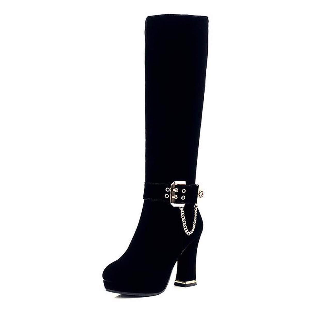 KOKQSX-Damen - Stiefel Runden Kopf warm Lange röhre modische Schuhe Joker Ritter - Stiefel.