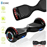 DOC Electric Hoverboard Self-Balancing Hoover Board with Built in Speaker LED Lights Wheels UL2272 Certified (Carbon Black)