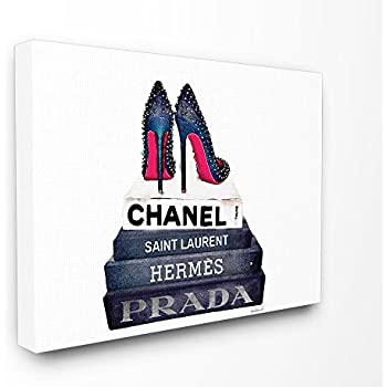 Stupell Industries Glam Fashion Book Set BW Stud Pump Heels Stretched Canvas Wall Art, Proudly Made in USA