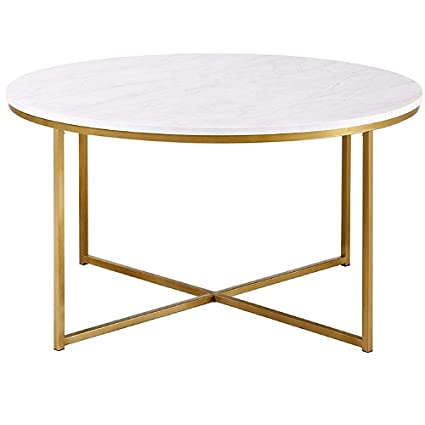 9bea18249b33 Coffee Table Marble Top Round Μetal Base Laminate Top Sturdy Tabletop White  Gold Mid Century Minimal Unique Modern Contemporary Hallway Living Room  Entryway ...