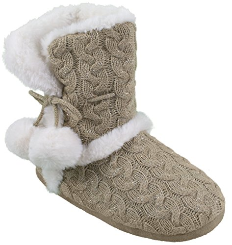Chinese Laundry Womens Bootie Slipper, with Pom Poms, Plush & Knit Slipper Bootie with Memory Foam, Tan Gold, Size XL 11/12
