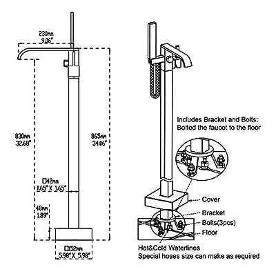 Artiqua Freestanding Bathtub Faucet Tub Filler Brass Floor Mounted Faucets with Handheld Shower