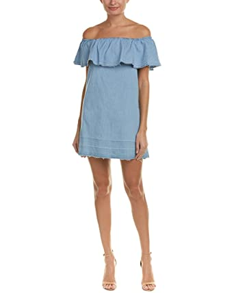 4c7af184480 7 For All Mankind Women's Off The Shoulder Denim Dress w/Released Hem In  Cool