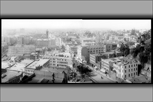 42x63 Poster; Panoramic View Of Downtown Los Angeles, Looking South Between Spring Street And Broadway From The Courthouse, Ca.1905 (5066 P) - Los Street Angeles South