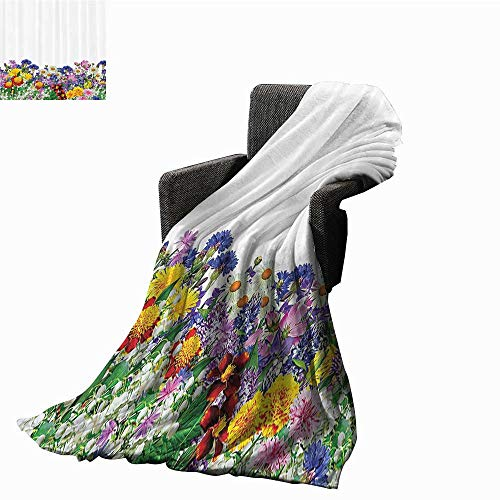 "Flower Decor Home Throw Blanket Floral Garden with Daisies Violets Tulips Nature Colored Theme Decor Art Print Fall Winter Spring Living Room 54"" Wx84 L Multicolor from Free Kite"