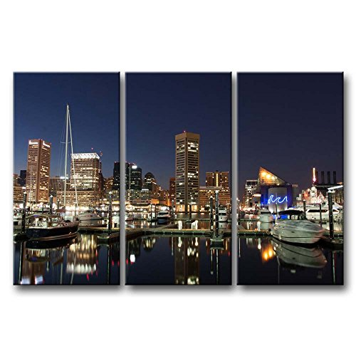 So Crazy Art 3 Pieces Wall Art Painting Baltimore Harbor At Night Prints On Canvas The Picture City Pictures Oil For Home Modern Decoration Print Decor For Boys Bedroom by So Crazy Art