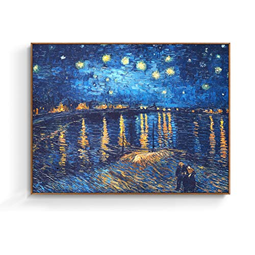 - Abstract Mural Painting Night Over The Rhone by Van Gogh Famous Oil Paintings Reproduction Canvas Prints Artwork Abstract Landscape Canvas Wall Art for Bedroom Kitchen Home Decor (12X16 Inch, C)