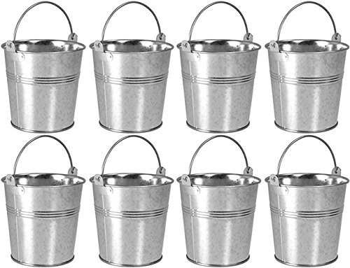 8 x Galvanised Metal Serving Buckets / Cutlery Caddies ProdBuy Limited