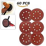 Misscrafts 60 PCS Sandpaper 5 Inch 8 Hole, Hook and Loop Sanding Discs Assorted 60 / 80 / 120 / 180 / 240 / 320 Grits