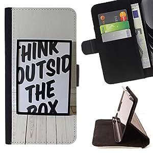 For Samsung Galaxy S6 EDGE - Funny Think Outside The Box /Funda de piel cubierta de la carpeta Foilo con cierre magn???¡¯????tico/ - Super Marley Shop -
