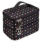 Double Layer Traveling Makeup Bag Small Dots Pattern Cosmetic Bag with Mirror-Small size(Black)