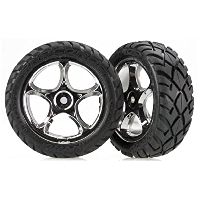 "Traxxas 2479R Anaconda Tires Pre-Glued on 2.2"" Chrome Tracer Wheels (pair): Toys & Games"