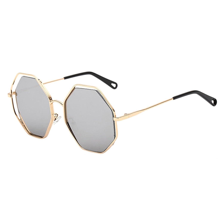 Hzjundasi Lunettes de Soleil pour Femmes,Grande Creux Octogone Forme Cercle Métallique Rond Lunettes Eyewear Retro Vintage UV400-Etui & Chiffon