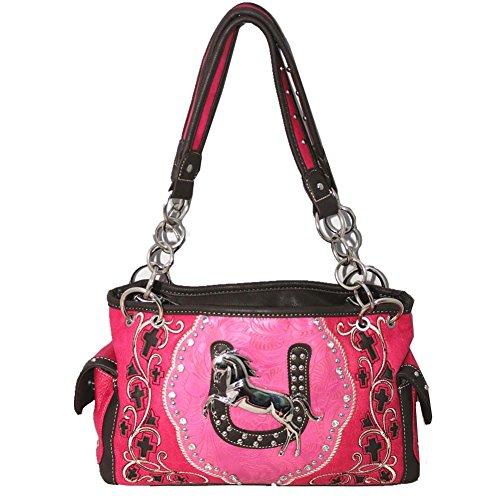 Premium Rhinestone Fringe Horse Concealed Carry Handbag P...