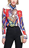 SANHION Women's Paisley Print Regular Fit Long Sleeve Buttons Down Casual Blouse Shirts