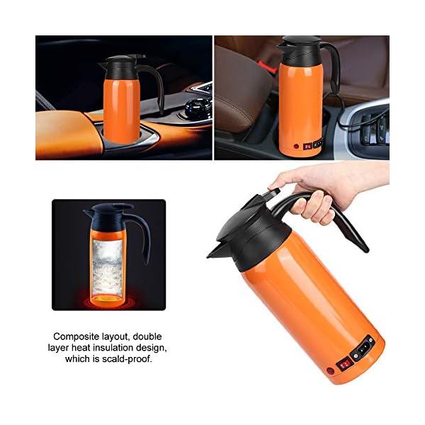 51EjrYkPLnL Tbest Auto Kessel Heizungs Schale, 800ml Edelstahl auto elektrischer erhitzter Wasserkocher Flaschen Schale Tragbarer…