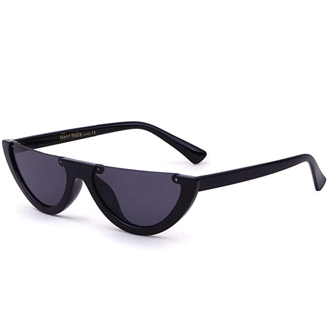 74c77daaa8 Half Clout Cat Eye Sunglasses Modern Half Moon 1990s Half Frame Kurt Cobain  Sunglasses (Black