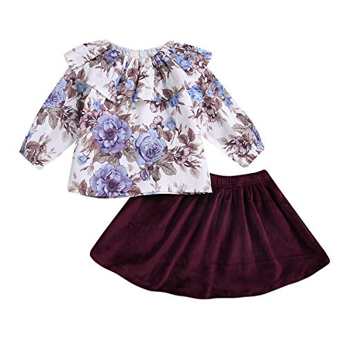 Skirt Velvet Kids (YOUNGER TREE Newborn Infant Baby Girls Skirt Outfits Floral Dress Ruffle Shirt Casual Clothes Costumes (Burgundy, 2-3T))