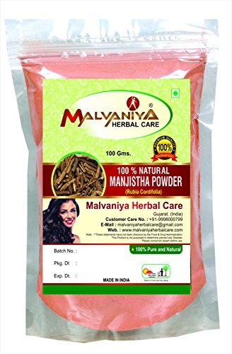 100% Natural Manjistha Root (RUBIA CORDIFOLIA) Powder as HAIR COLORANT NATURALLY (100 gm (0.22 lb) 3.5 ounces) (Cure For Allergic Reaction To Hair Dye)