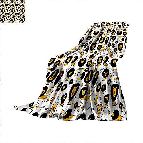 Lion Throw Blanket Doodle Style Giant African Velvet Plush Throw Blanket (New York Giants 50x60 Plush)