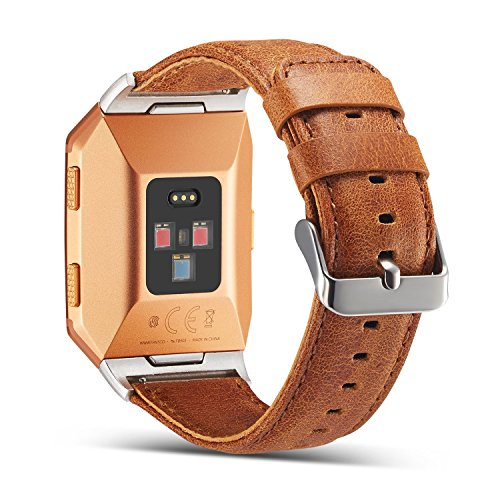 Fitbit Ionic Genuine Leather Replacement Bands, Marval Power Fitness Accessory Leather Straps Wristband for Smartwatch Men Women (Double Layers Crazy Horse Khaki)