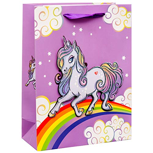 Glitter Small Purple Goodie Gift Bags for Birthdays, Baby Showers, Parties, Events (12 Pack) ()