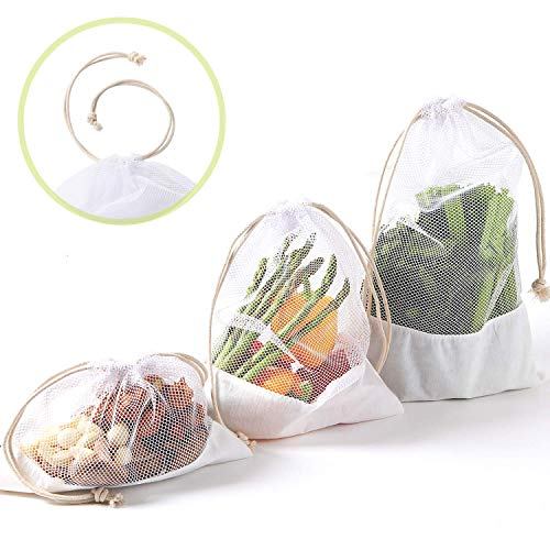 NZ Home Reusable Vegetable Produce Bags, Large Size, Cotton Drawstrings, See Through, Washable, Tare Weight, Premium Quality 5 Pack (Mix - Bamboo Fabric Bottom)