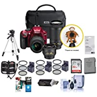 Nikon D3400 DX-Format DSLR Camera Red with 35mm 1.8 AF-P DX, 18-55mm F/3.5-5.6G VR, AF-P DX 70-300mm F/4.5-6.3G ED Lenses - Bundle with 32GB SDHC Card, Spare Battery, Tripod, Software Pack and More