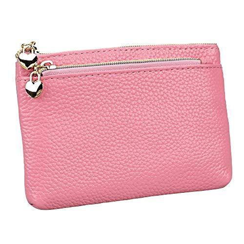 Women's Genuine Leather Coin Purse Zipper Pocket Size Pouch Change Wallet, Pink