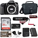Canon EOS 80D Digital Camera: 24 Megapixel 1080p HD video DSLR Video Creator Bundle with 32GB SD Card Rode VideoMic GO Spare Battery & Travel Charger - Professional Vlogging Sports and Action Cameras