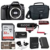Cheap Canon EOS 80D Digital Camera: 24 Megapixel 1080p HD Video DSLR Video Creator Bundle with 32GB SD Card Rode VideoMic GO Spare Battery & Travel Charger – Professional Vlogging Sports and Action Cameras