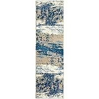 LR Resources MATRI81201LBS2175 Matrix Runner LR81201-LBS2175 Rectangle Indoor Rug, 21 x 75, Light Beige/Soft Blue
