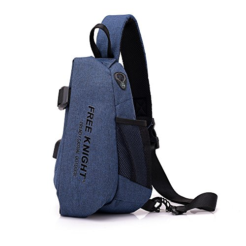 Sling Chest Shoulder Bag with USB Charging Port,Sling Purse Crossbody Bags for Bicycle Sport Hiking Travel Camping - Blue by Sammid