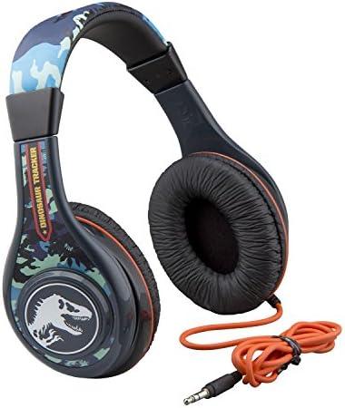 Jurassic World 2 Kids Headphones, Adjustable Headband, Stereo Sound, 3.5Mm Jack, Wired Headphones for Kids, Tangle-Free, Volume Control, Childrens Headphones Over Ear for School Home, Travel 51EjskPPwWL