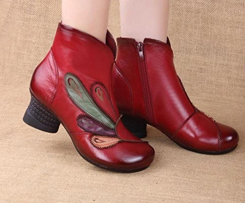 HGTYU-The New Short Boots Leather Boots The National Wind Women Autumn And Winter Plus Velvet Older Anchovy The Mother Of The Girl Shoes Single Shoes Wine Red KOWEvcy