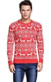 Shineflow Men's Crew Neck Reindeer Snowflakes Christmas Pullover Sweater Jumper (L, Red)