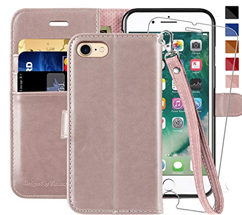 iPhone 6 Wallet Case/iPhone 6s Wallet Case,4.7-inch, MONASAY [Glass Screen Protector Included] Flip Folio Leather Cell Phone Cover with Credit Card Holder for Apple iPhone 6/6S (Rosegold with Strap) ()