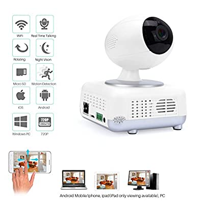 IdeaNext WI-FI Network Pan&Tilt IP Security Spy Video Surveillance Camera Wireless Baby Monitor HD 720p 1.3MP IPCAM Night Vision/ /2-way Audio/ SD Video Record /Motion Detection/Remote Internet Video Guarding with APP for iphone /Android Smartphone/Tablet