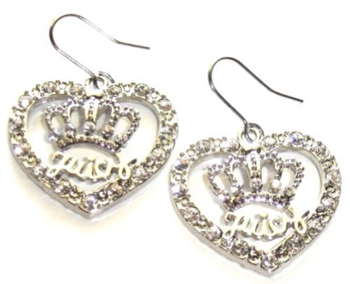 Silver Tone Juicy Inspired Heart and Crown Crystal Dangle Couture Style Fashion Earrings Women and Teens Jewelry (Juicy Earrings Jewelry)