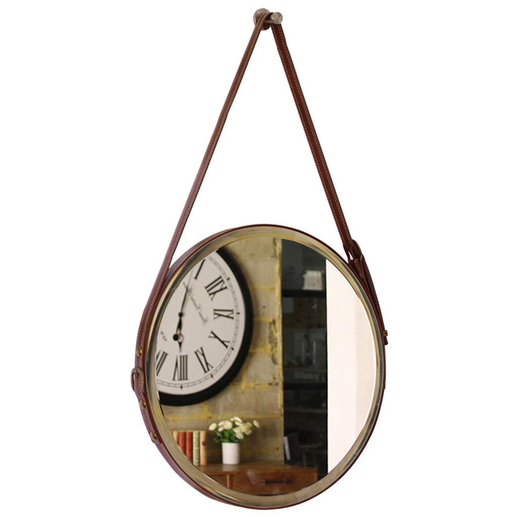 Round Hanging Mirror, 50/60cm Diameter Living Decoration Vanity Mirror Shaving Mirror Bathroom with Chain Wall Mirror - Brown