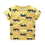 Toddler Summer T Shirt,Fineser Kids Children Baby Boy Short Sleeve Tiger Print Cotton Pocket Tee Top Shirt Blouse 2-7Y (Yellow, 18-24 Months)