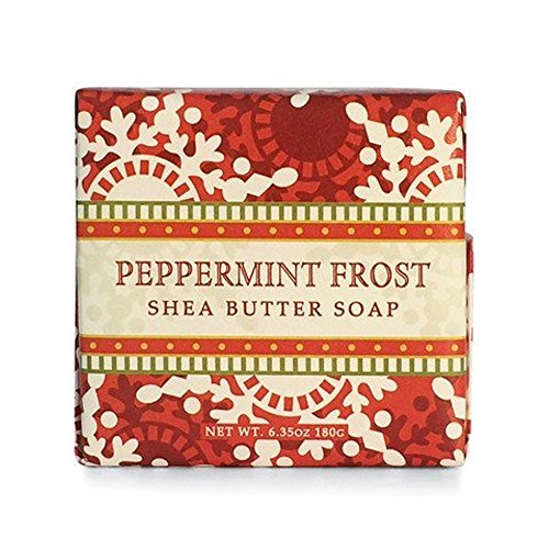 Bar Bay - Greenwich Bay Peppermint Frost Shea Butter Soap - Enriched with Peppermint Oil & Shea Butter - 6.35 Oz Holiday Vegetable Soap Bar