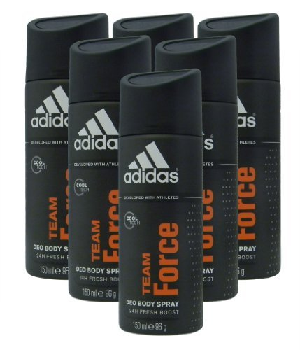 Price comparison product image Adidas Deodorant Body Spray Team Force, 150ml (Pack of 6)