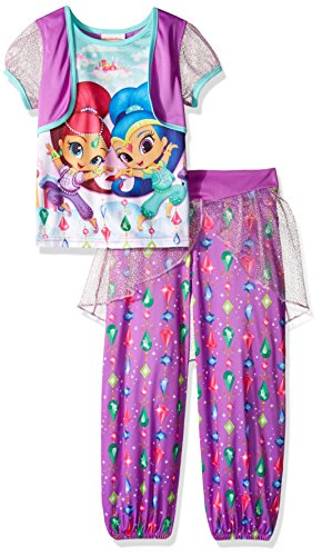 Nickelodeon Little Girls' Shimmer and Shine 2-Piece Fantasy Pajama Set, Violet Fantasy, (Pajamas Toys)