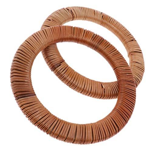 (SM SunniMix 2 Pack DIY Wooden Purse Bag Handle Rattan Handbag Accessories Solid Wood Frame Evening Clutch Handle Part)