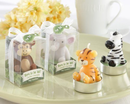 Born to be Wild Animal Candles - Monkey, Elephant, Tiger, and Zebra (Set of 4, Assorted) (12 sets) by Kateaspen [並行輸入品]   B01AKZ93FC