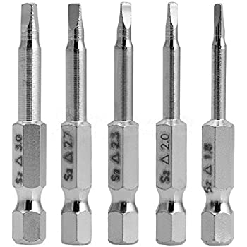 Rocaris 5 Pieces in One Set Magnetic Triangle Head Screwdriver Bits S2 Steel 1/4 Hex Shank 50mm