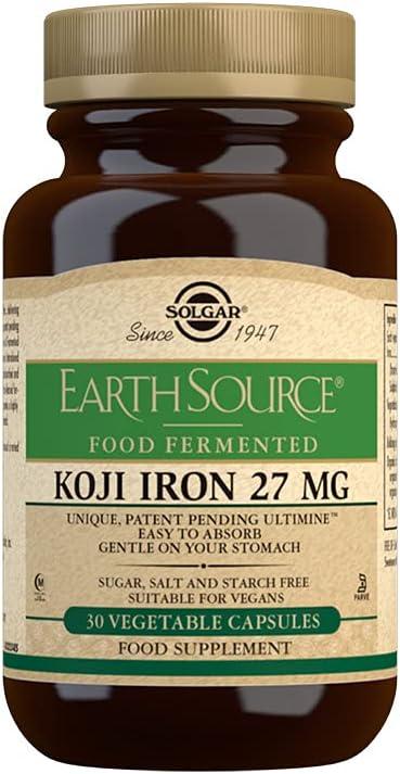 Solgar | Earth Source Hierro fermentado con alimentos Koji | Fácil de absorber | Suave en tu estómago | 30 Cápsulas de 27 mg 200 g