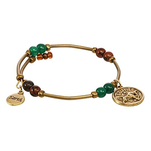 Amazon Com Earth Element Zodiac Charm Gemstone Bracelet Taurus Sign Handmade